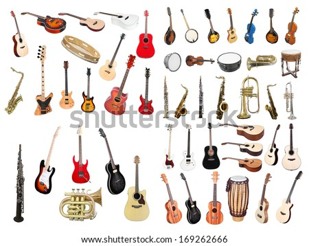 The image of musical instruments isolated under a white background - stock photo