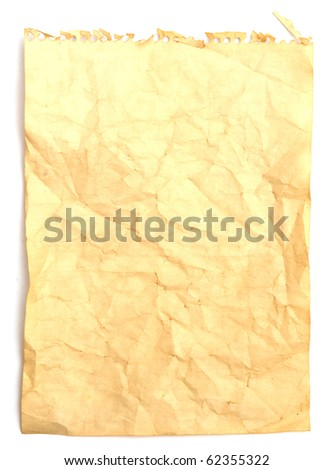 The image of old crumpled note paper on white background