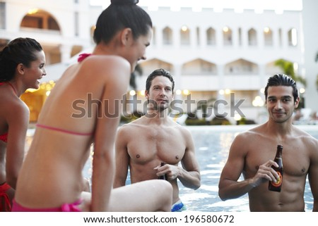 the image of people drinking beer in swimming pool,Boracay in Philippine