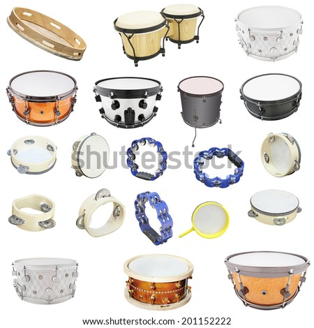The image of percussion instruments under the white background - stock photo