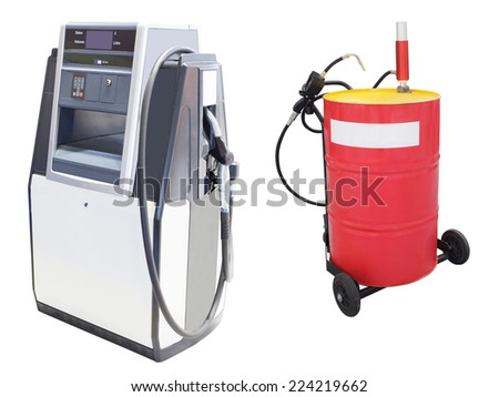 The image of petrol pump under the white background - stock photo