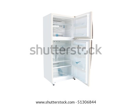 The image of refrigerator under the white background - stock photo