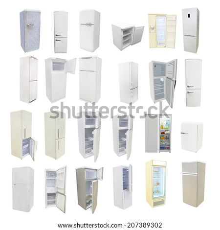 The image of refrigerators under the white background