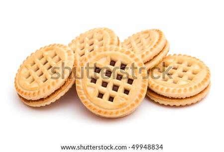 The image of round cookies isolated on white