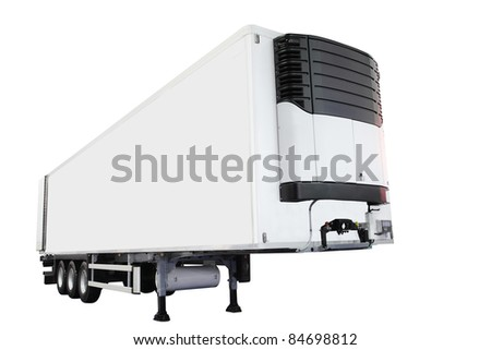 The image of semitrailer isolated under the white background - stock photo