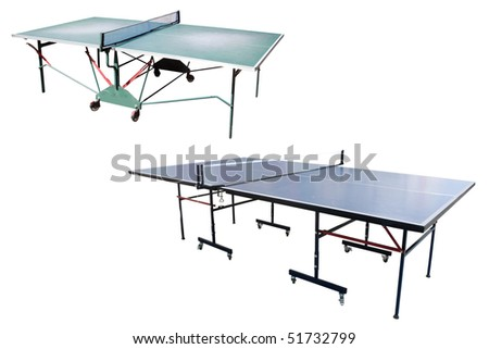 The image of tennis tables under the white background