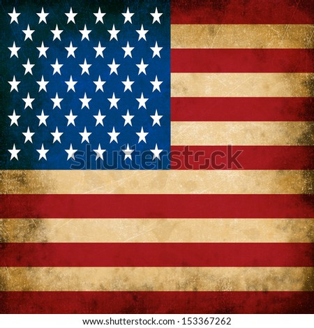 the image of the american flag on the old paper - stock photo