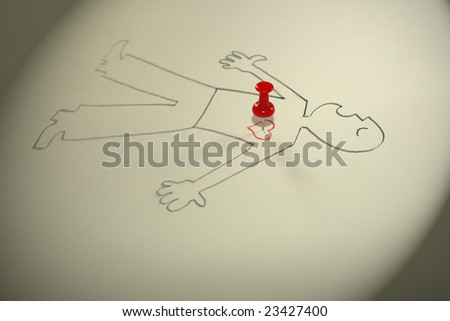 The image of the laying person with the button thrust in heart.
