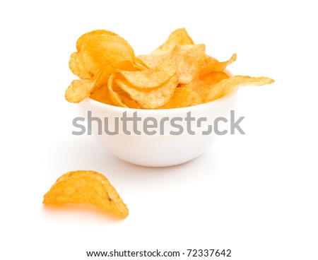 The image of the potato chips isolated on white - stock photo