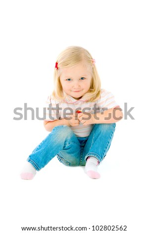 The image of the small girl on a white background