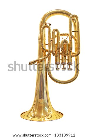 The image of trumpet under the white background - stock photo