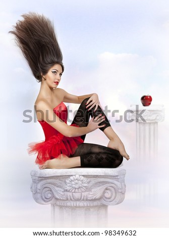 The imagination about the woman in heavens - stock photo