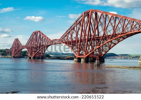 The impressing railway bridge over the Firth of Forth in Scotland - stock photo