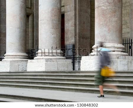 The impressive pillars of the St-Peter�s Cathedral - Geneva, Switzerland - stock photo