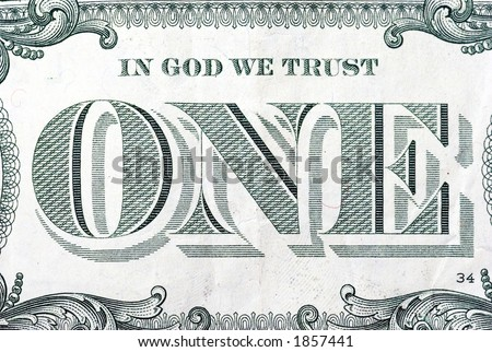 "The ""In God We Trust"" area on the back of a one dollar bill."