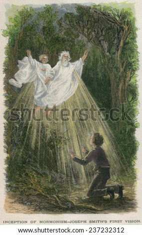 The Inception of Mormonism. Joseph Smith's Vision. While praying in a grove of trees, he saw a bright light enveloping God the Father and Jesus Christ. - stock photo