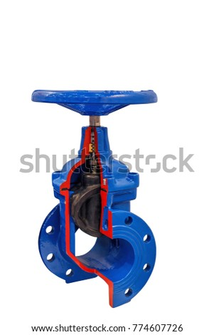 the incision shut-off valve with manual control  isolated on white background