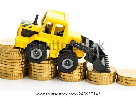the income decline in construction. less income for housing us road - stock photo
