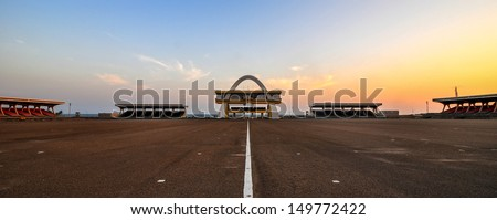 The Independence Arch in Accra, Ghana, is part of the Independence Square which contains monuments to Ghana's independence struggle - stock photo