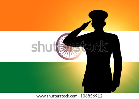 The Indian flag and the silhouette of a soldier's military salute - stock photo