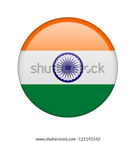 The Indian flag in the form of a glossy icon. - stock photo