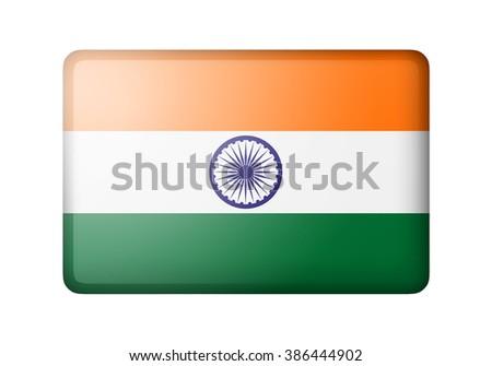 The Indian flag. Rectangular matte icon. Isolated on white background. - stock photo