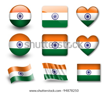 The Indian flag - set of icons and flags. glossy and matte on a white background. - stock photo