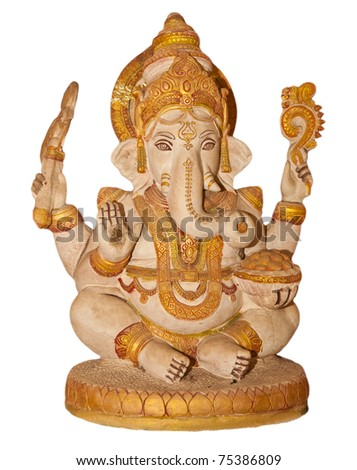 The Indian God Ganesha statue isolated on white. - stock photo