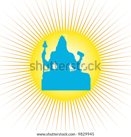 The Indian God Shiva with powerful sun rays