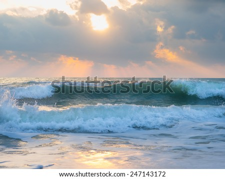 The Indian ocean on  a stormy day  - stock photo