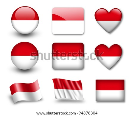 The Indonesian flag - set of icons and flags. glossy and matte on a white background. - stock photo