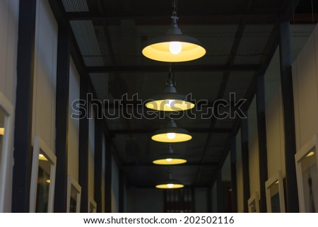 The indoor environment of modern restaurant,lighting decor - stock photo