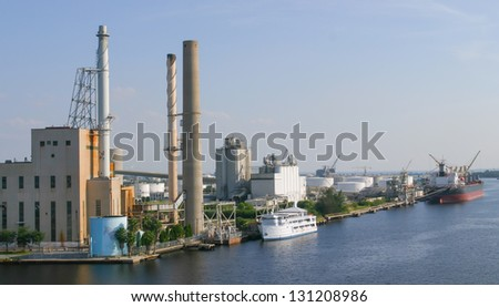 The industrial area is situated in Tampa, Florida. - stock photo