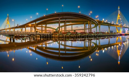 The Industrial Ring Bridge or Mega Bridge,at dusk in Thailand.The bridge located at Bangkok harbor.