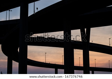 The industrial ring road  and sunset in thailand - stock photo