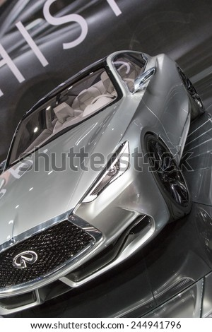 The 2015 Infiniti Q60 Concept at The North American International Auto Show January 13, 2015 in Detroit, Michigan. - stock photo