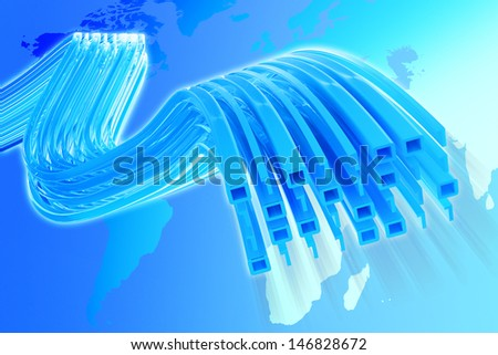 The information data flow over a map of the Earth. Elements of this image furnished by NASA. - stock photo