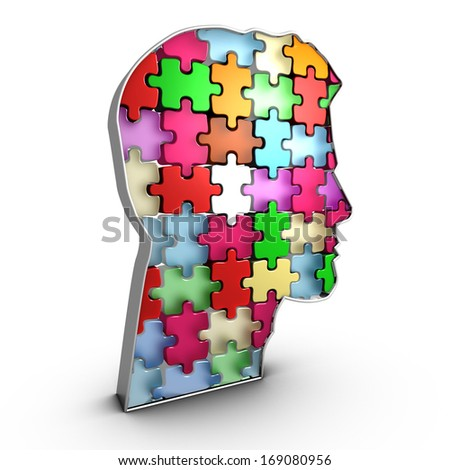The infrastructure of the human head is like a brick assembly whose interconnections give rise to the thought - stock photo