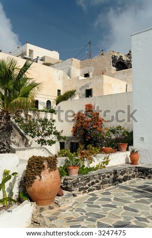 The inner court of a mediterranean townhouse - stock photo