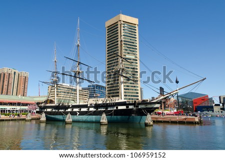 The Inner Harbor area of Baltimore, Maryland in spring - stock photo