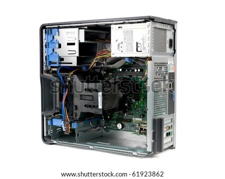The inner hardware system of a desktop computer - stock photo