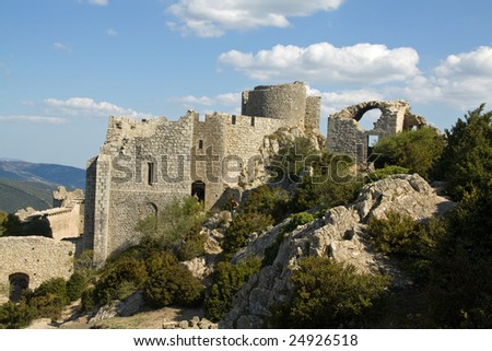 the inner ruins of Chateau Peyrepertuse, the biggest of the Cathar Castles in the Languedoc, built on a mountain ridge