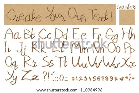 The inscription of handwritten alphabet letters, signs and numbers (isolated over white background) and seamless wet beach sand pattern for backdrop, easy to create your own message on sand