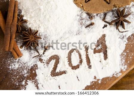The inscription on the flour: 2014 - stock photo