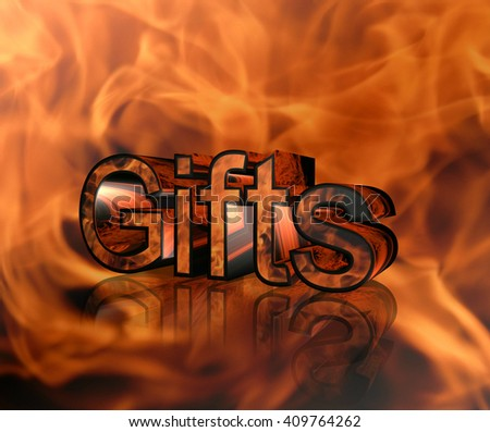 The inscription on the gift of fire background