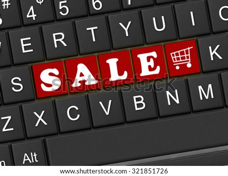 The inscription sale on the black keyboard - stock photo