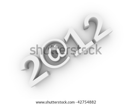 The inscription 2012, where instead of zero used the at sign. The white charactersis isolated on white - stock photo