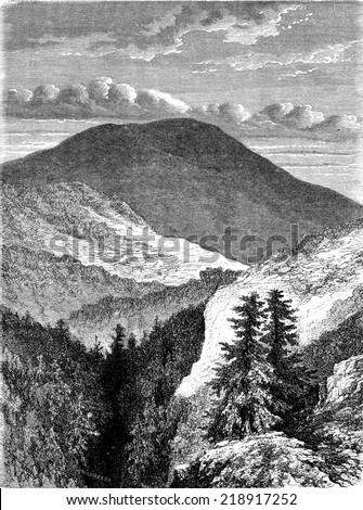 The Inselberg, vintage engraved illustration. Le Tour du Monde, Travel Journal, (1872).  - stock photo