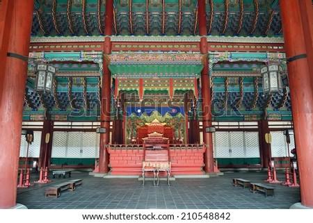 the inside of Geunjeongjeon in Gyeongbok palace in Korea - stock photo