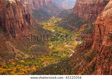 The inside of Zion Canyon National Park, seen from Angels Landing. - stock photo